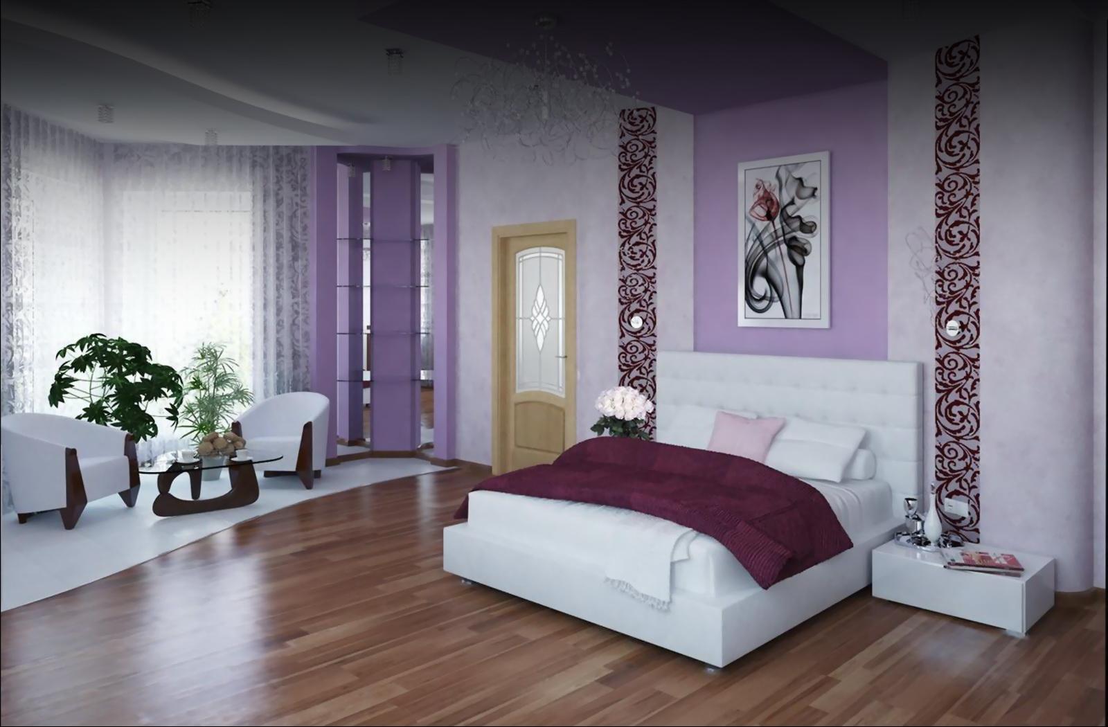 Дизайн спальни в сиреневом